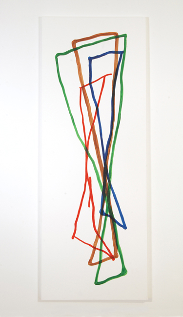 This image is of an abstract painting by Sjak Marks.  The 2006 piece uses organic intersecting lines of ink and paint on canvas to create an animated freely rendered work.  There is an implied geometry and motion in the gesture of pure color of the line.  Titled Approach it is 108 inches tall by 40 inches wide.