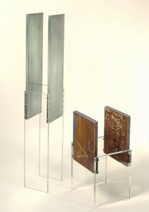 Photograph of the artist Sjak Mark's 2011 abstract aluminum and plexi glass sculpture Tuning.